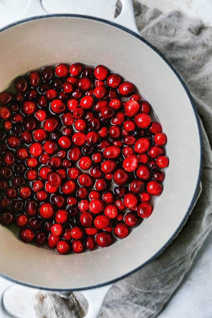 fresh cranberries in simple syrup