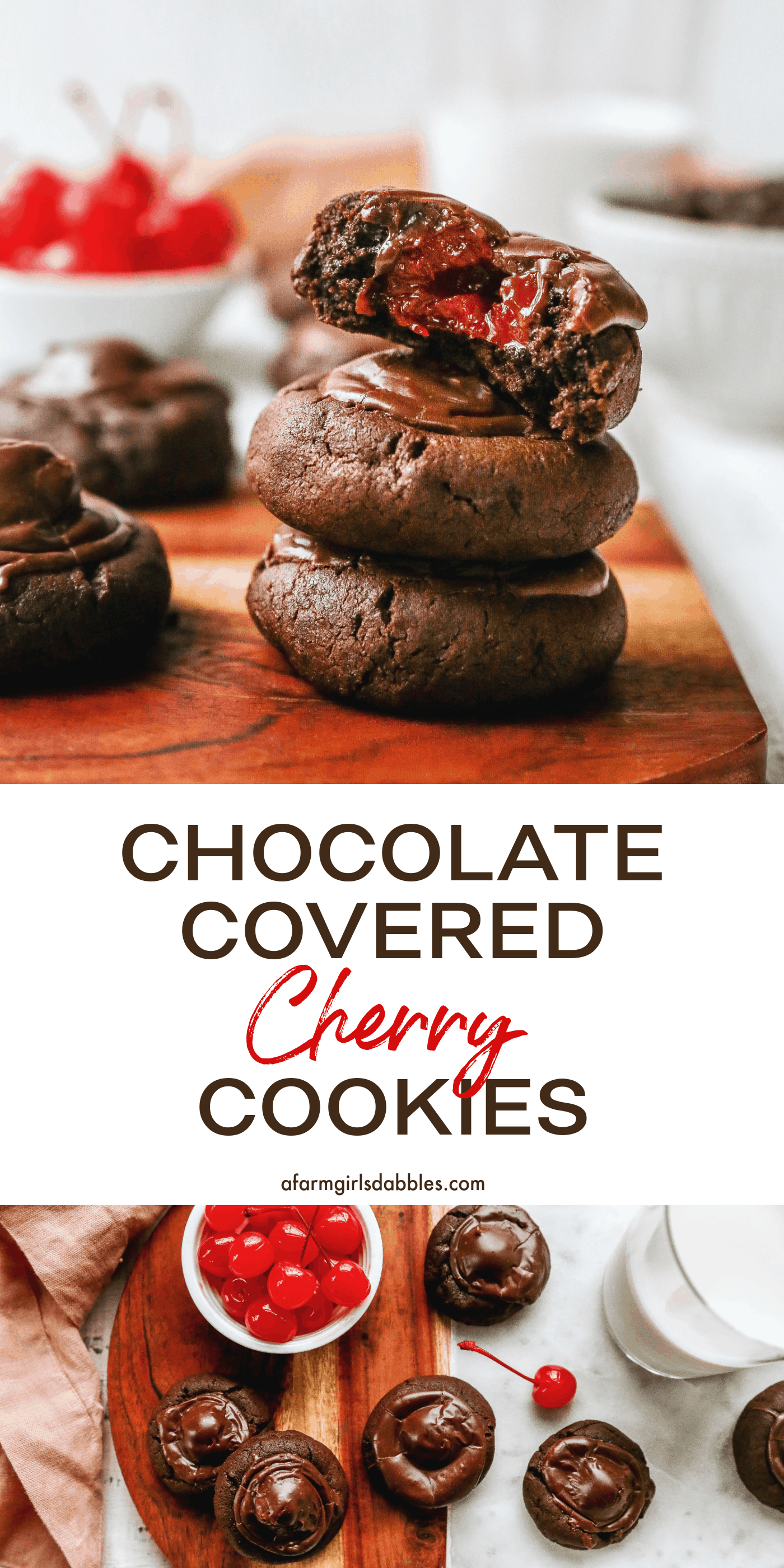 Pinterest image for chocolate covered cherry cookies