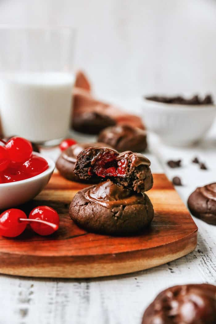 chocolate cherry cookies and a bowl of maraschino cherries