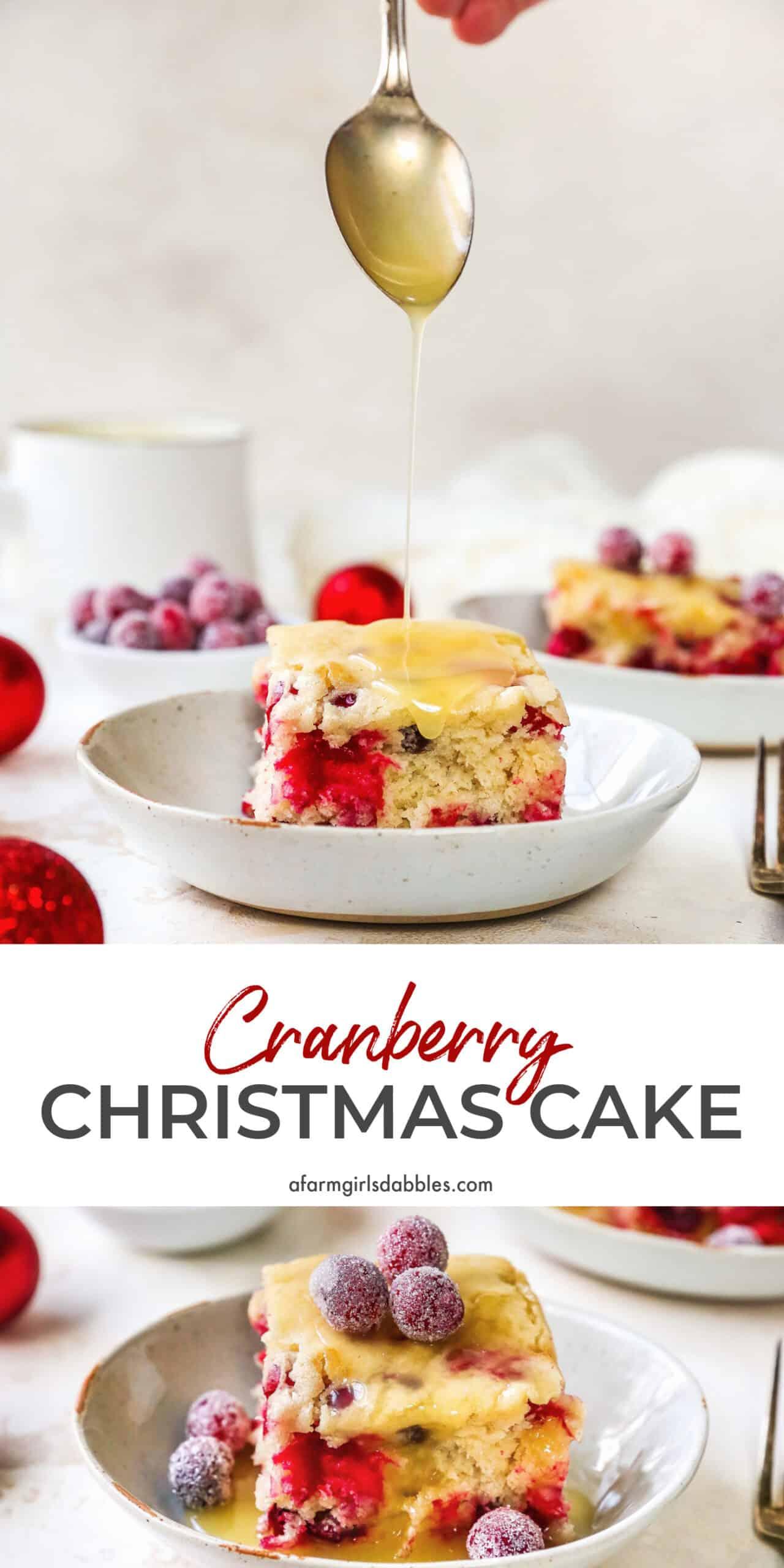 Pinterest image of cranberry Christmas cake