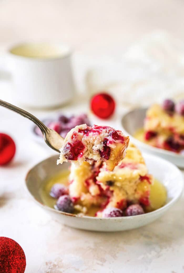 a forkful of cranberry cake