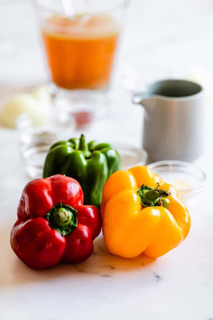 fresh bell peppers - 1 red, 1 green, 1 yellow