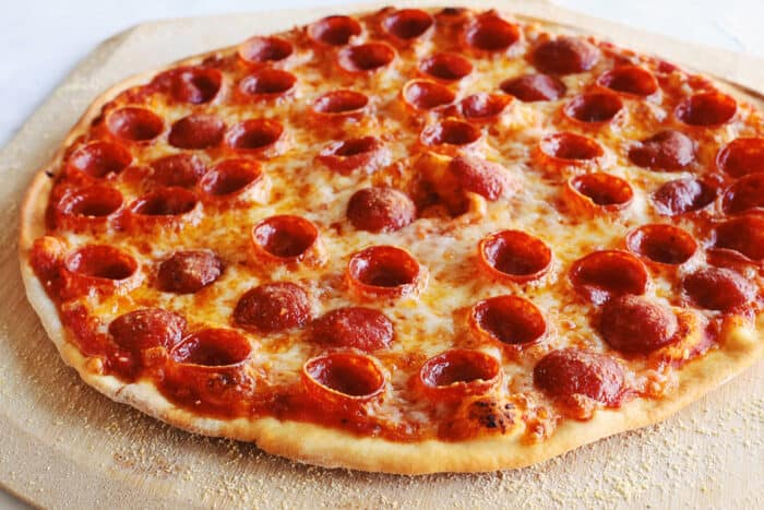 a baked pepperoni pizza
