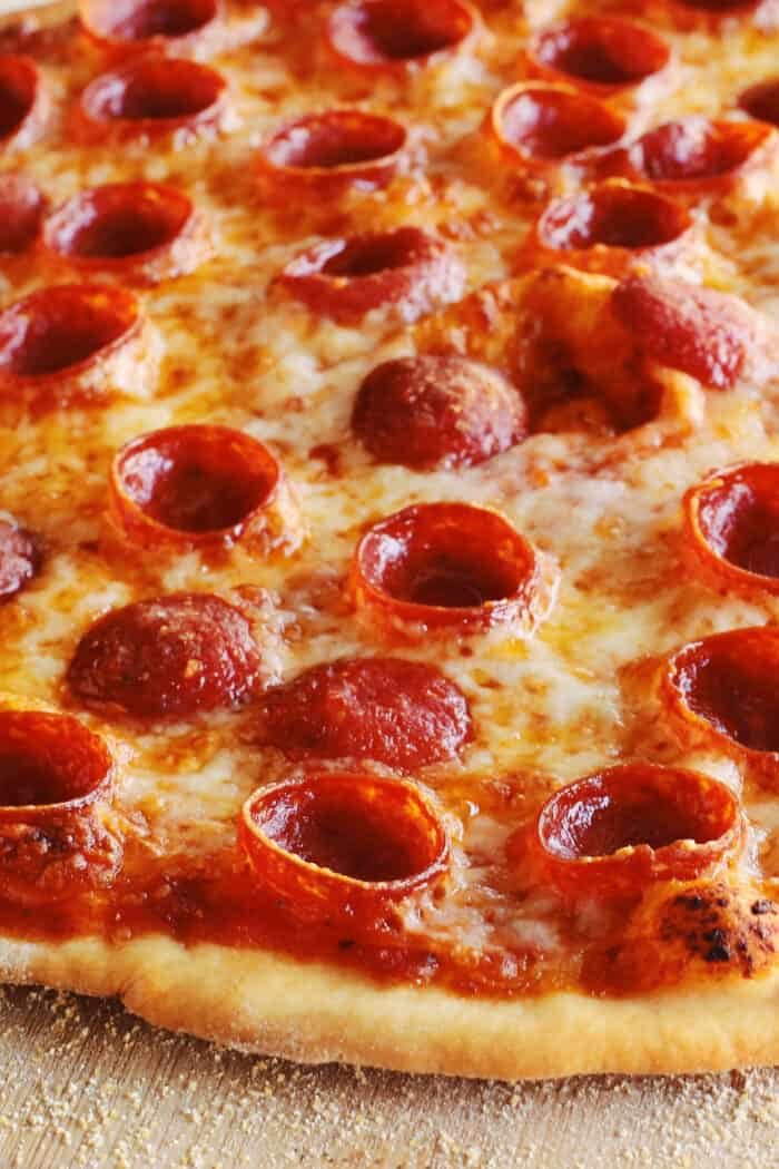 close-up of pizza's thin crust