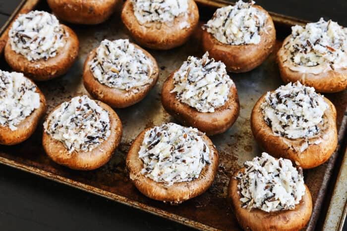 baby portobello mushroom caps stuffed with mashed potatoes and wild rice