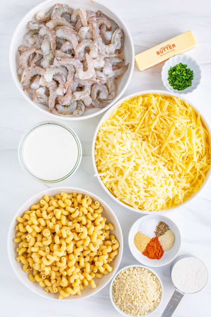 ingredients for macaroni and cheese with shrimp