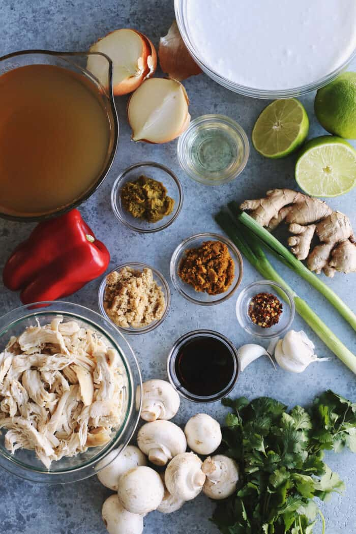 ingredients on a counter, to make chicken soup with coconut milk and curry