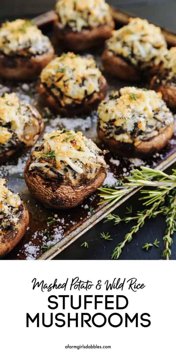 Pinterest image for Mashed Potato and Wild Rice Stuffed Mushrooms