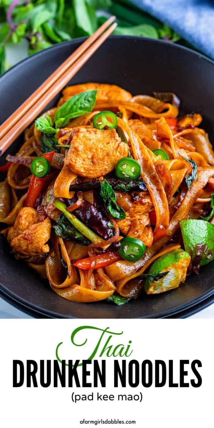 Pinterest image for Thai drunken noodles