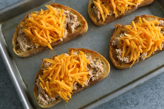 toasted bread topped with tuna salad and shredded cheddar