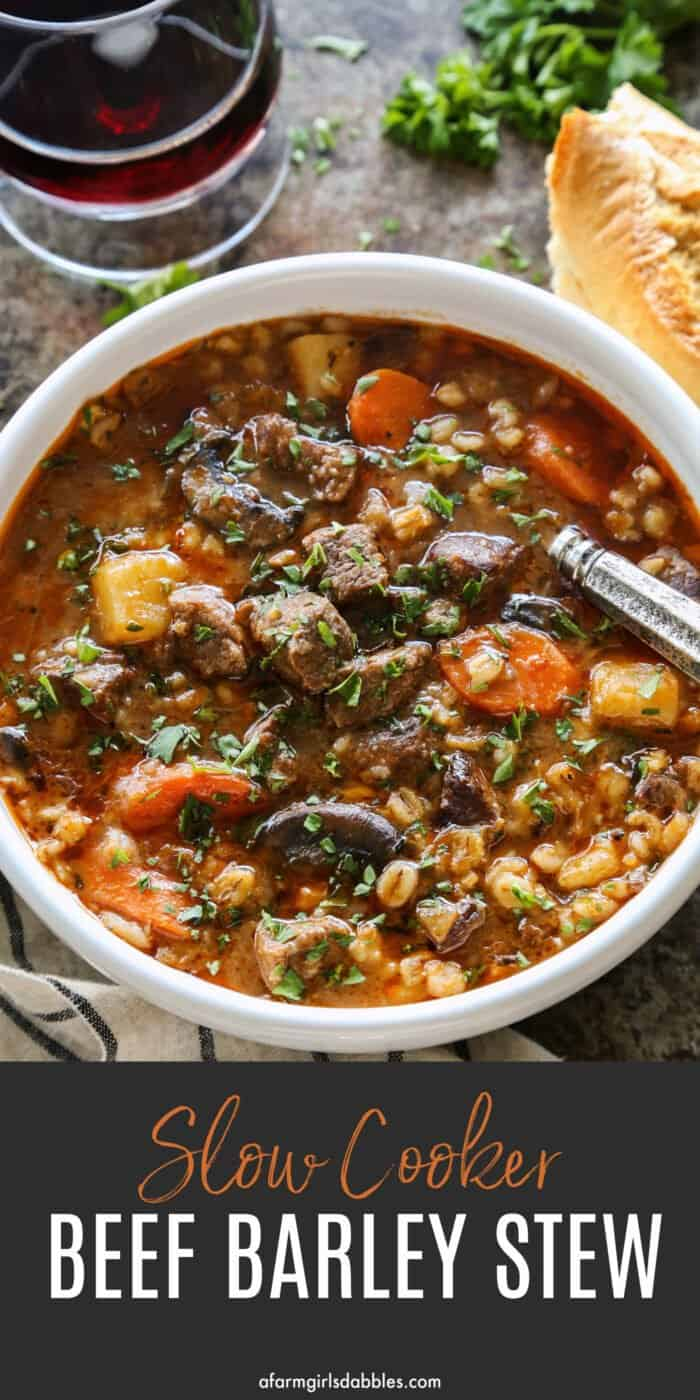 Pinterest image for slow cooker beef barley stew