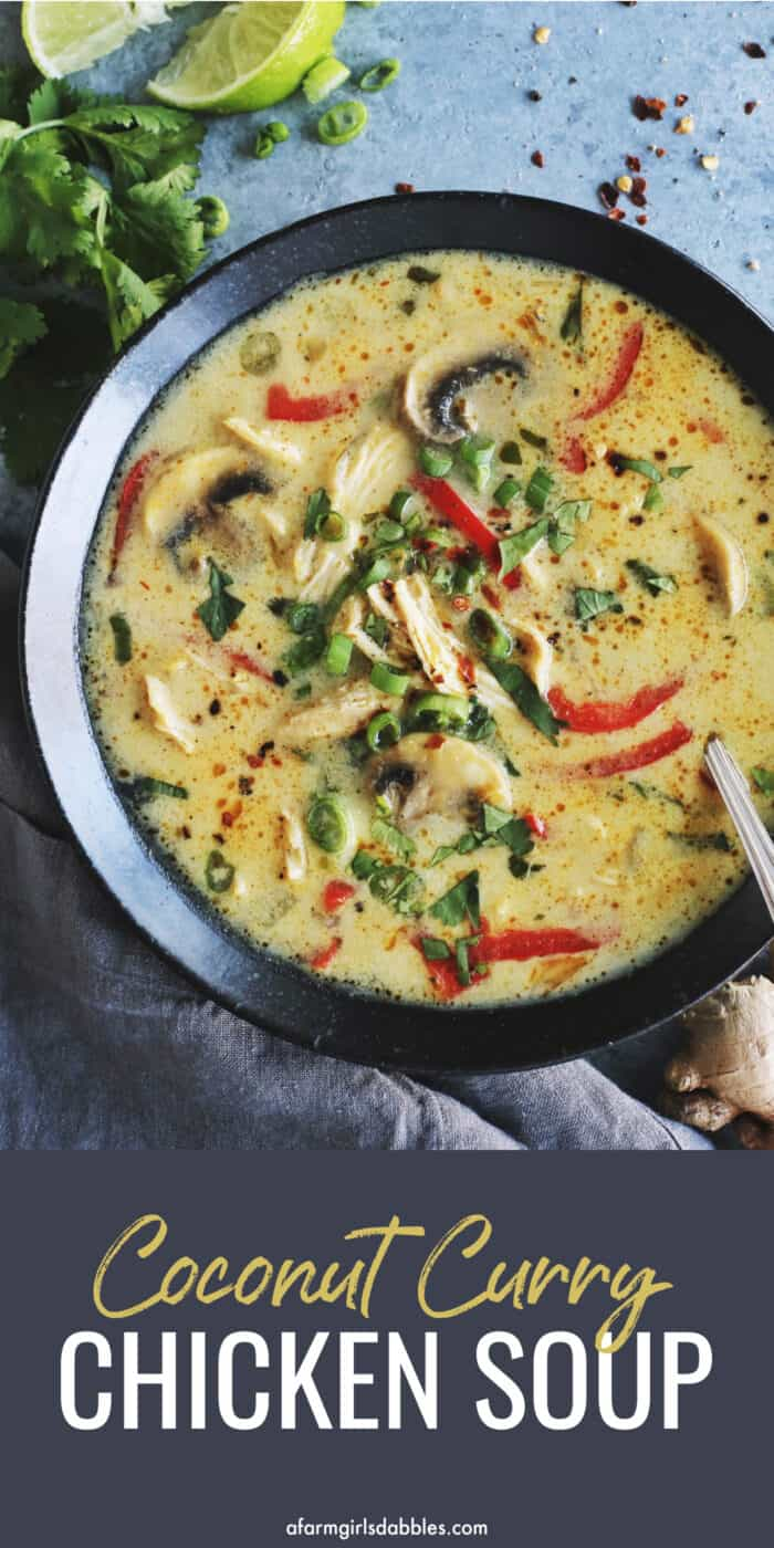Pinterest image for coconut curry chicken soup