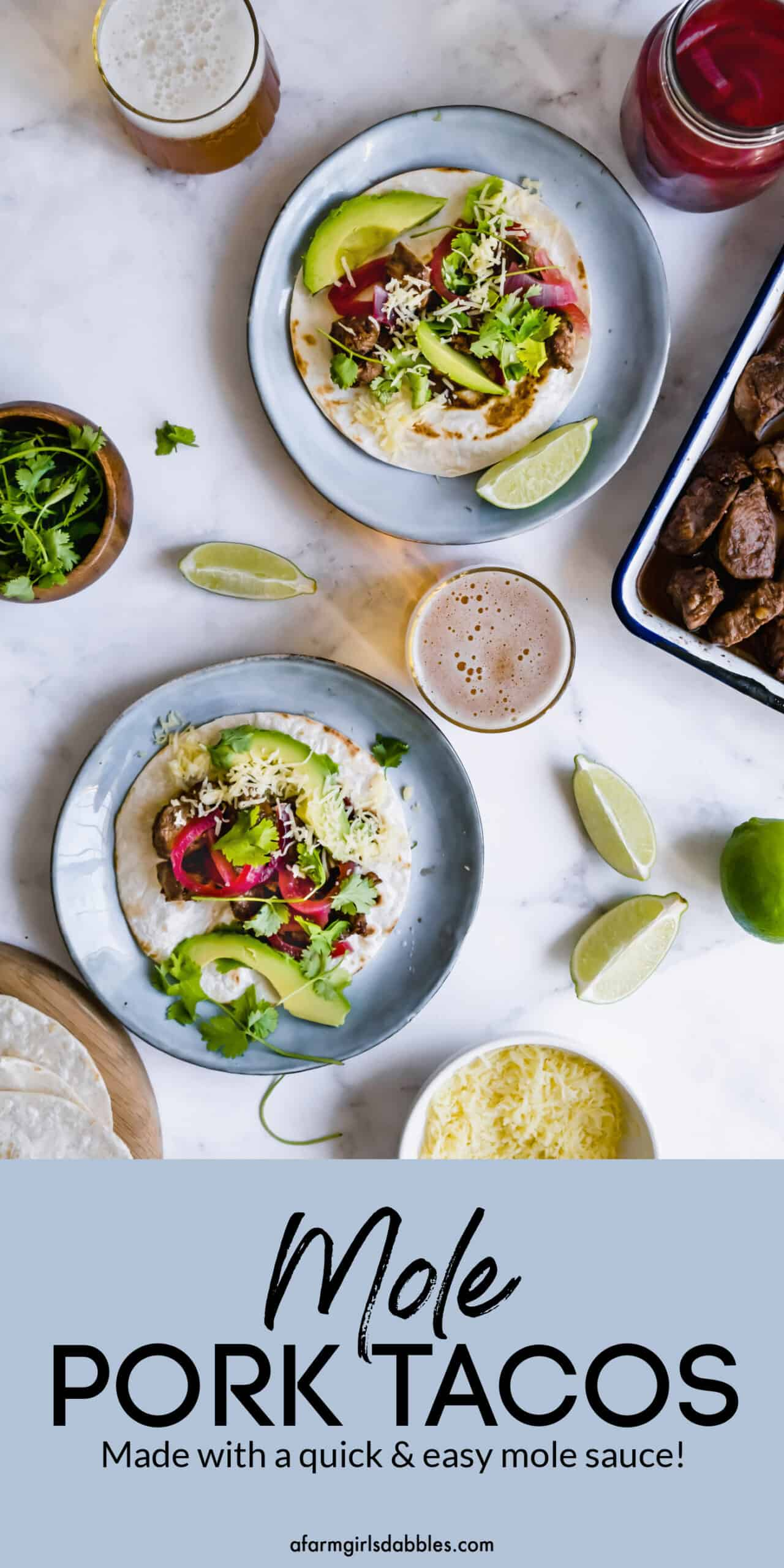 Pinterest image of mole pork tacos
