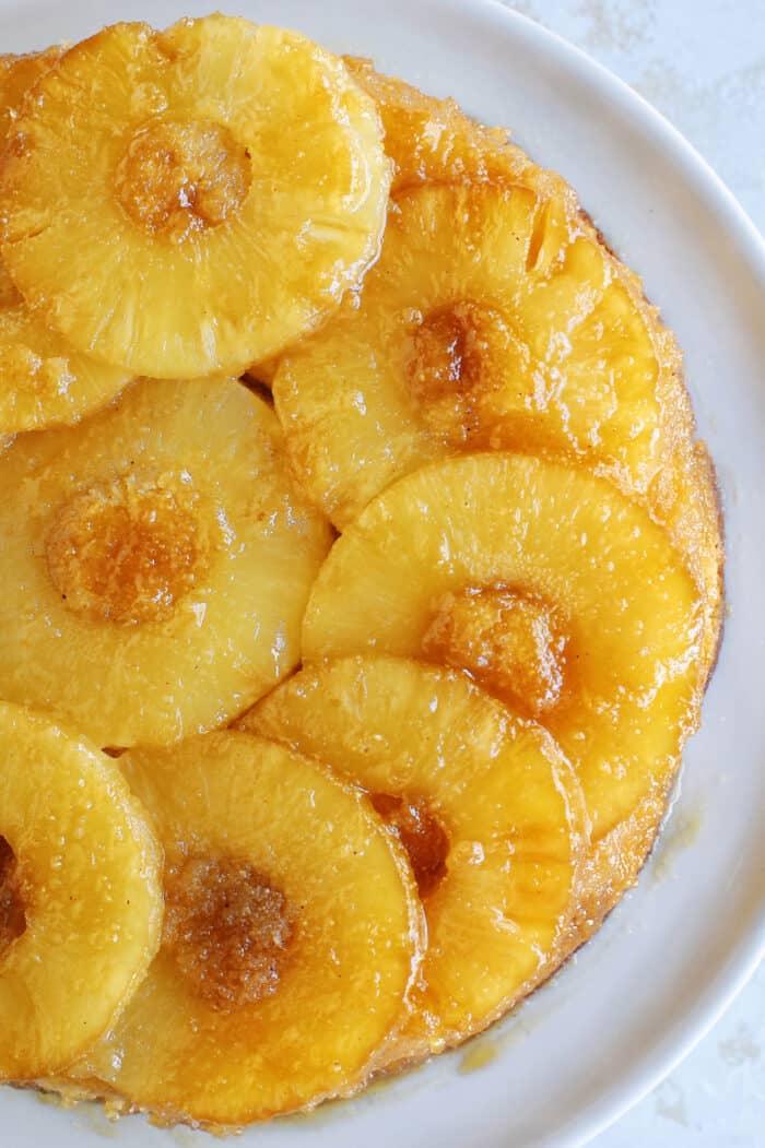 overhead photo of baked pineapple upside-down cake