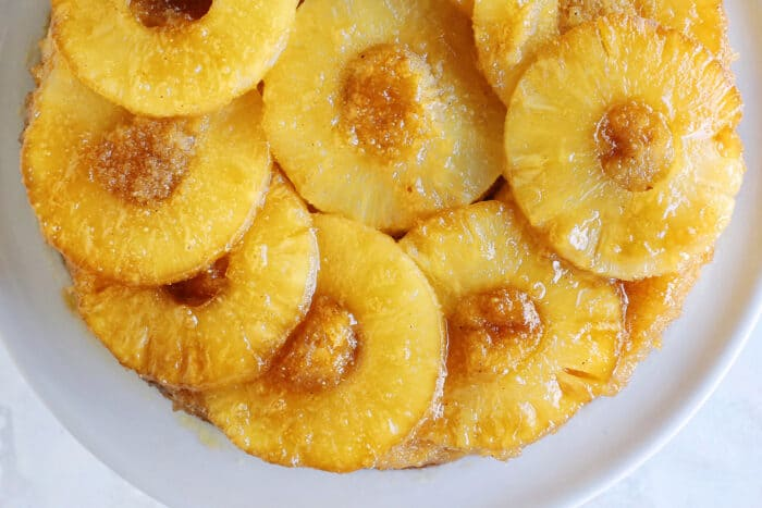 overhead photo of baked pineapple cake