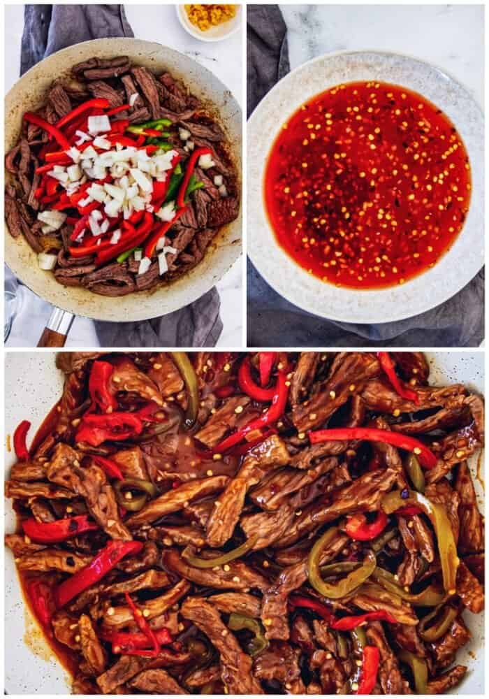 collage of images showing sautéeing the beef and vegetables, the sauce, and the finished Beijing beef