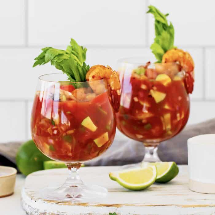 two glasses of shrimp cocktail
