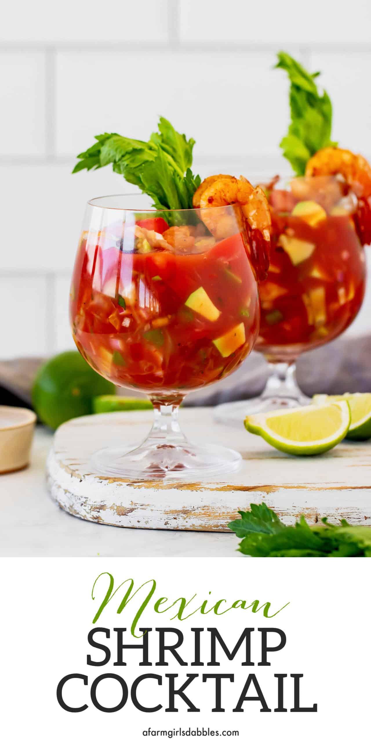 Pinterest image for Mexican shrimp cocktail