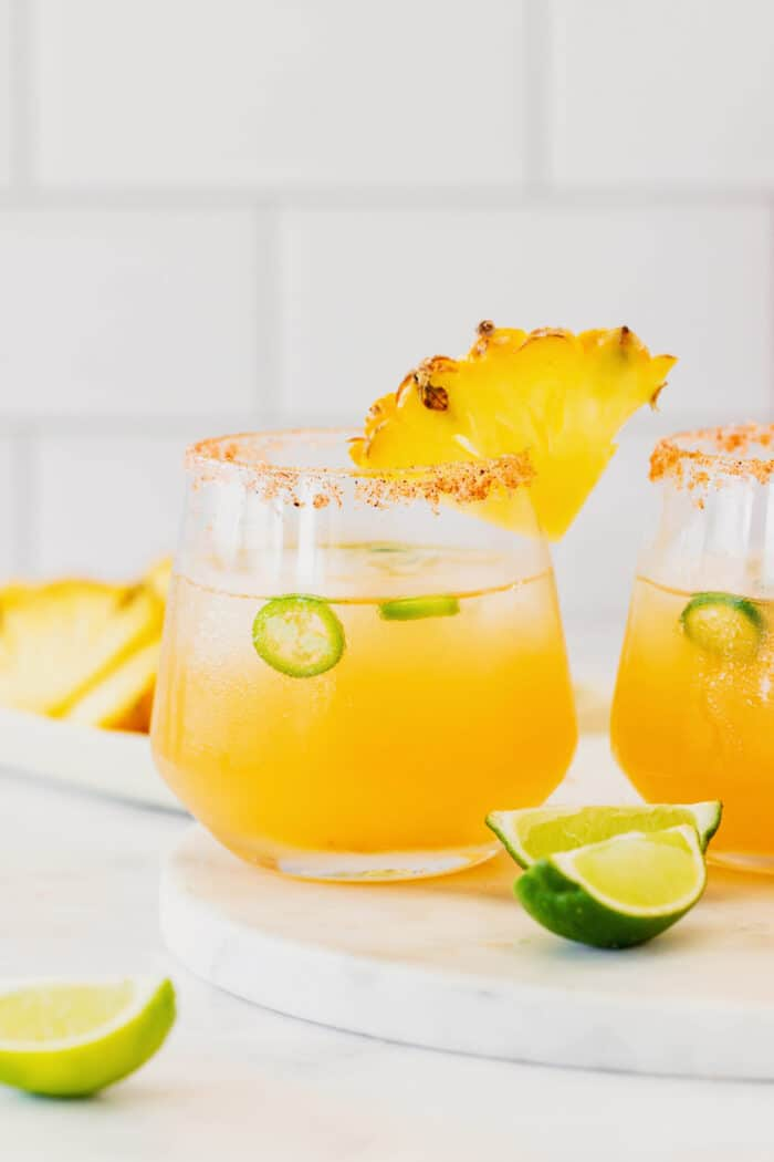 a margarita cocktail made with pineapple, jalapeno, tequila, and lime juice