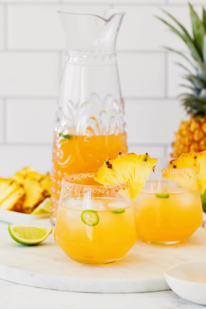 margaritas made with pineapple and jalapeno