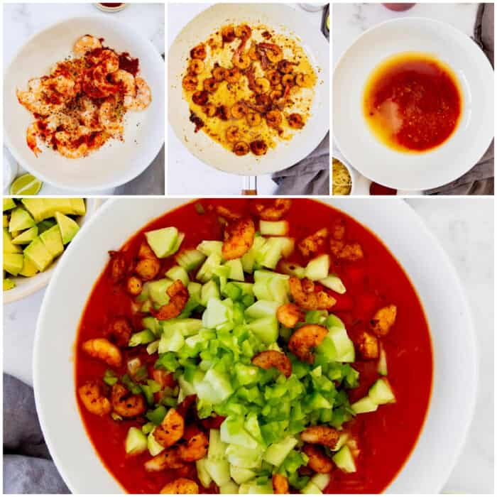 collage of images showing how to make Mexican shrimp cocktail
