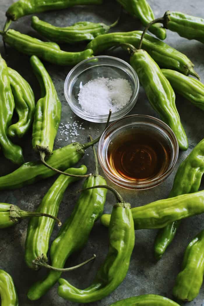 fresh shishito peppers, sesame oil, and kosher salt