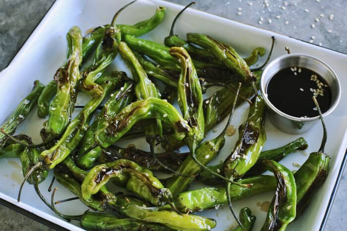 blistered peppers and a cup of soy honey sauce for dipping