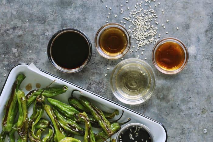 ingredients for soy honey sauce: soy sauce, honey, sesame oil, rice vinegar