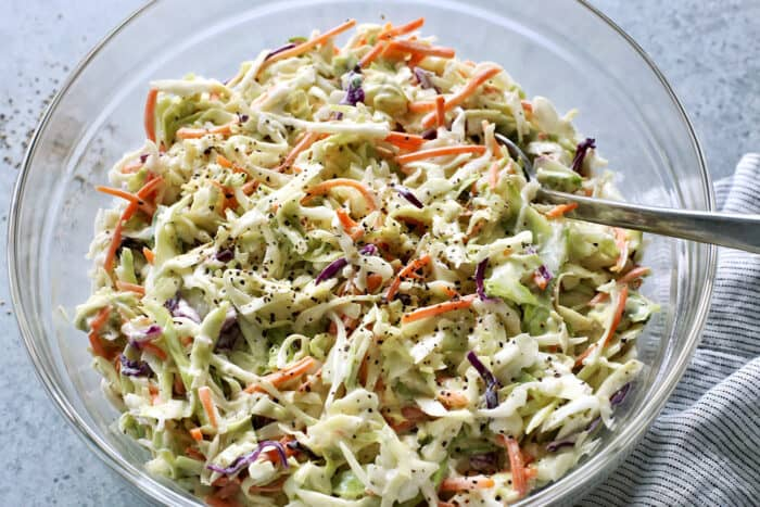 a clear bowl of coleslaw salad