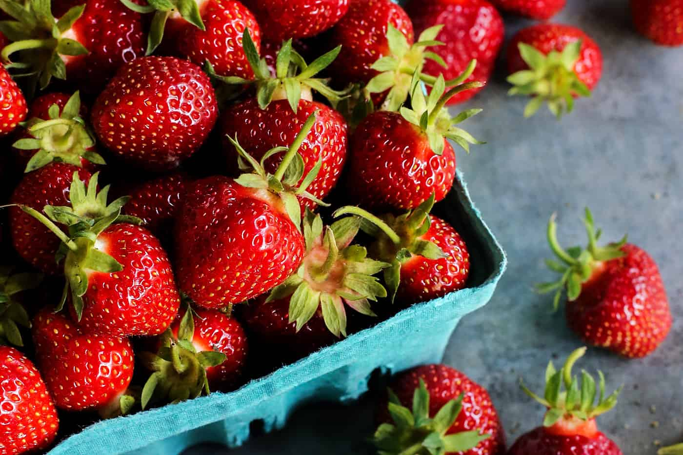 A basket of freshly picked strawberries