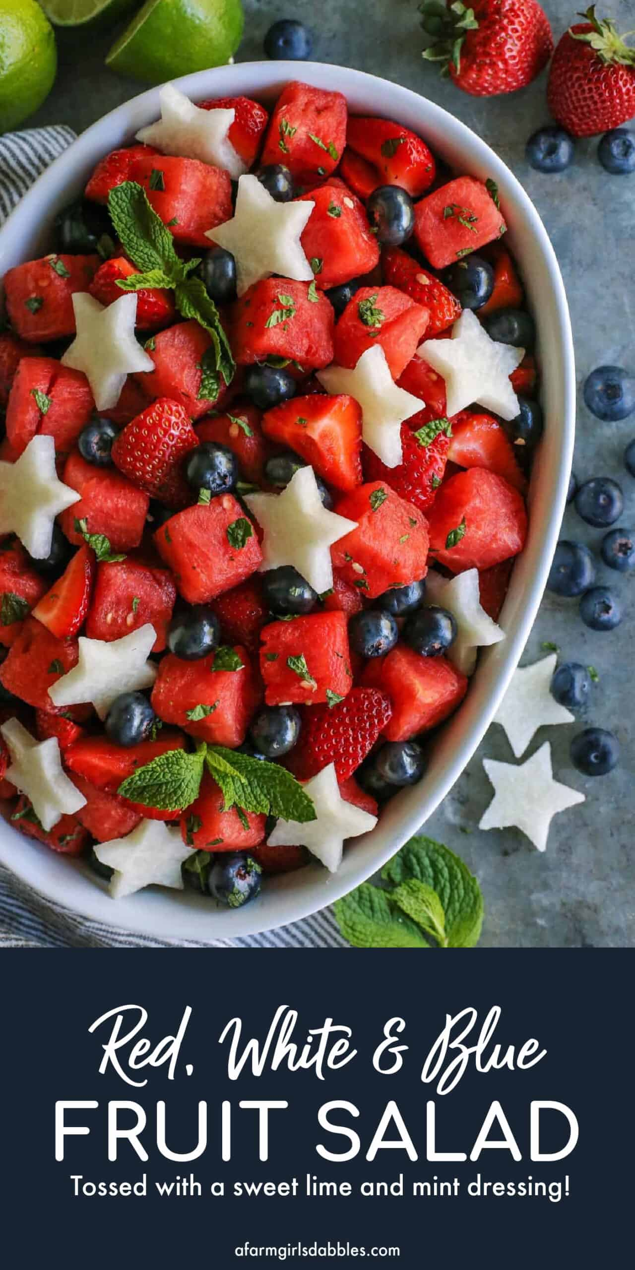 Pinterest image for red, white and blue mojito fruit salad