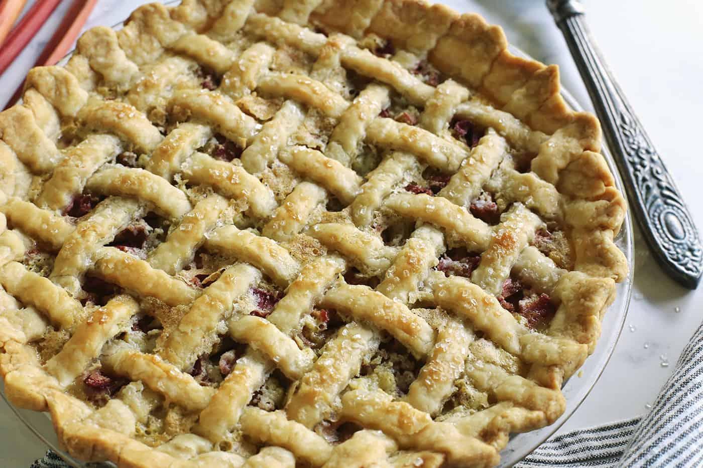 baked rhubarb and custard pie
