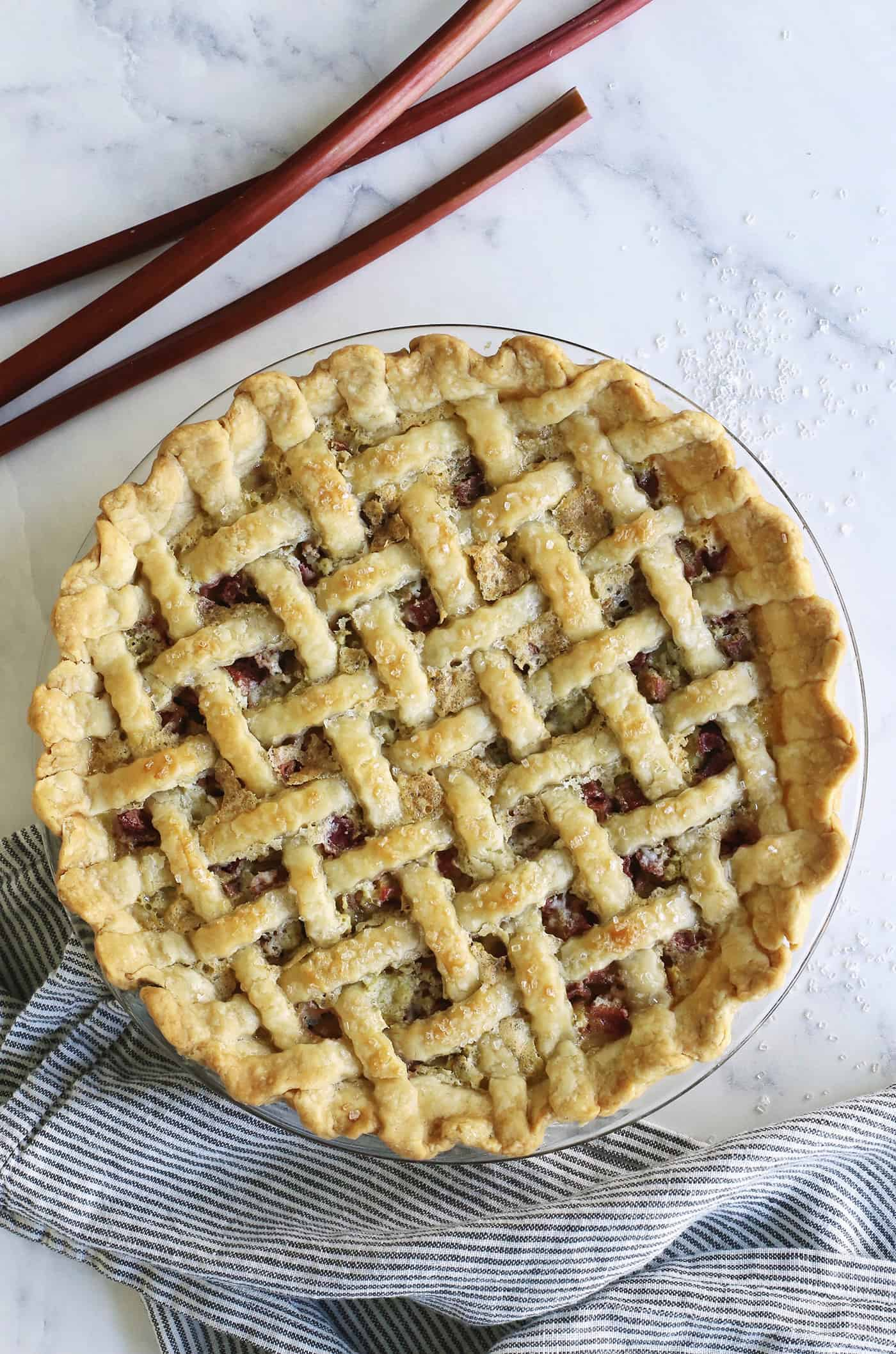 baked rhubarb custard pie with lattice crust