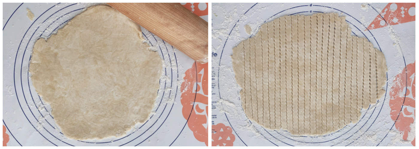 collage of 2 photos that show making pie crust