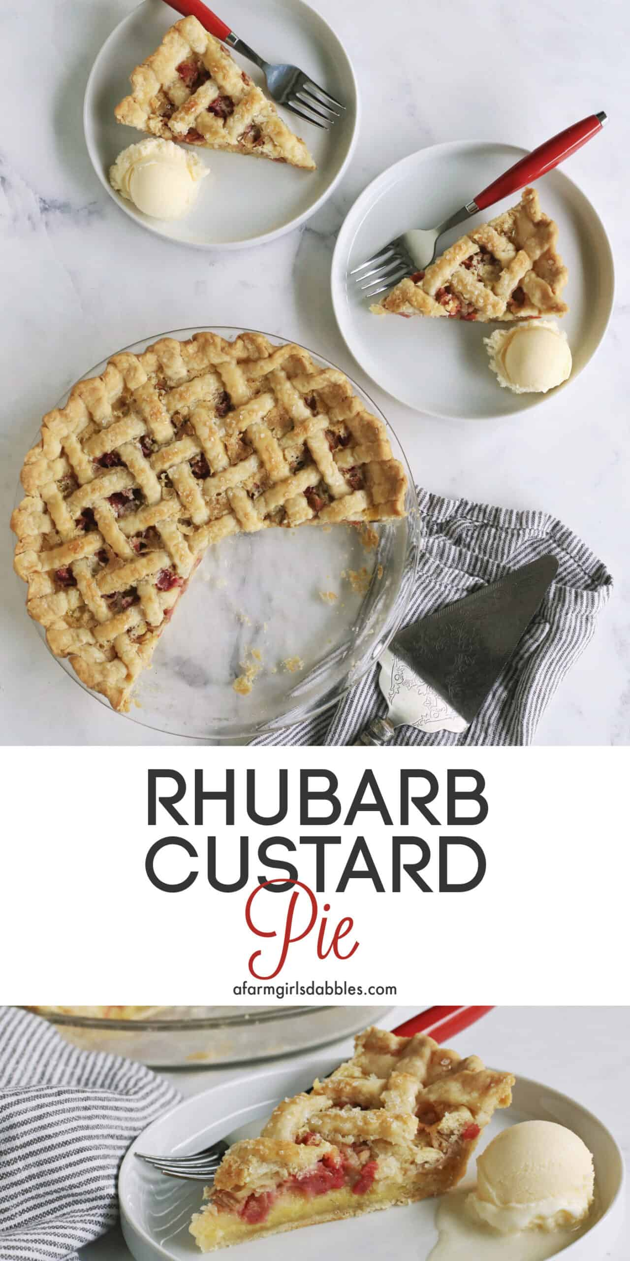 Pinterest image of Rhubarb Custard Pie