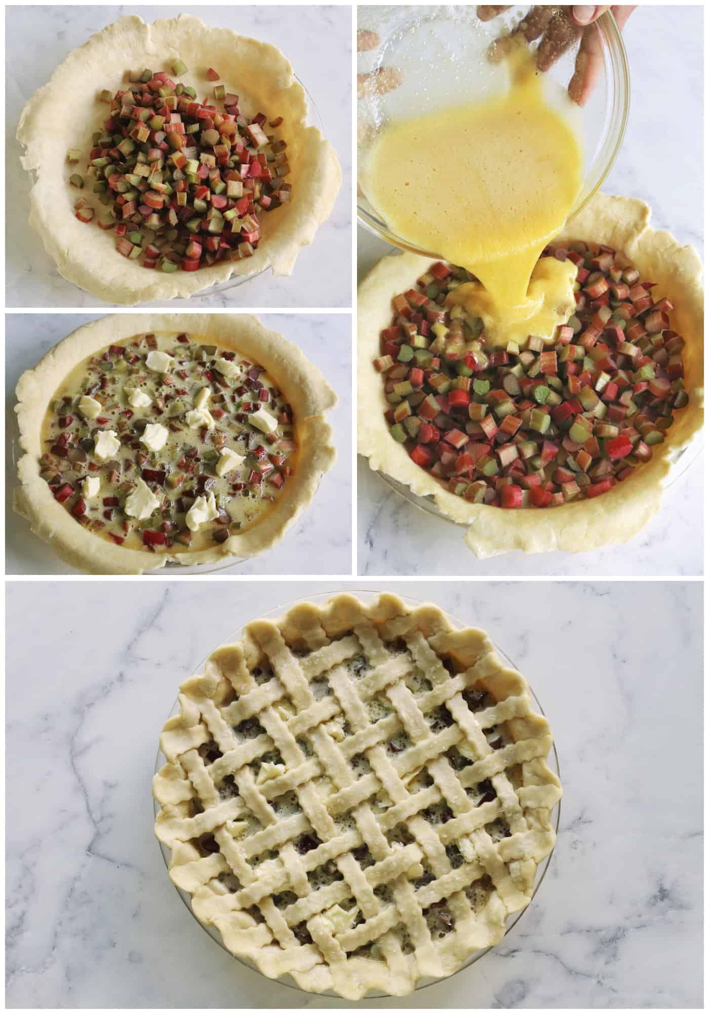 collage of photos showing how to make rhubarb pie