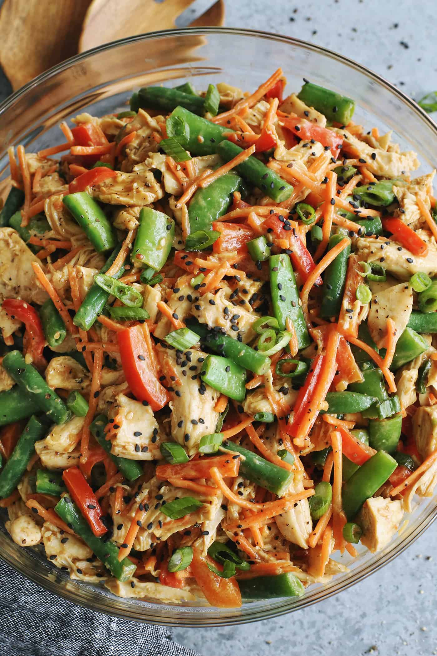 close up view of Chinese chicken salad
