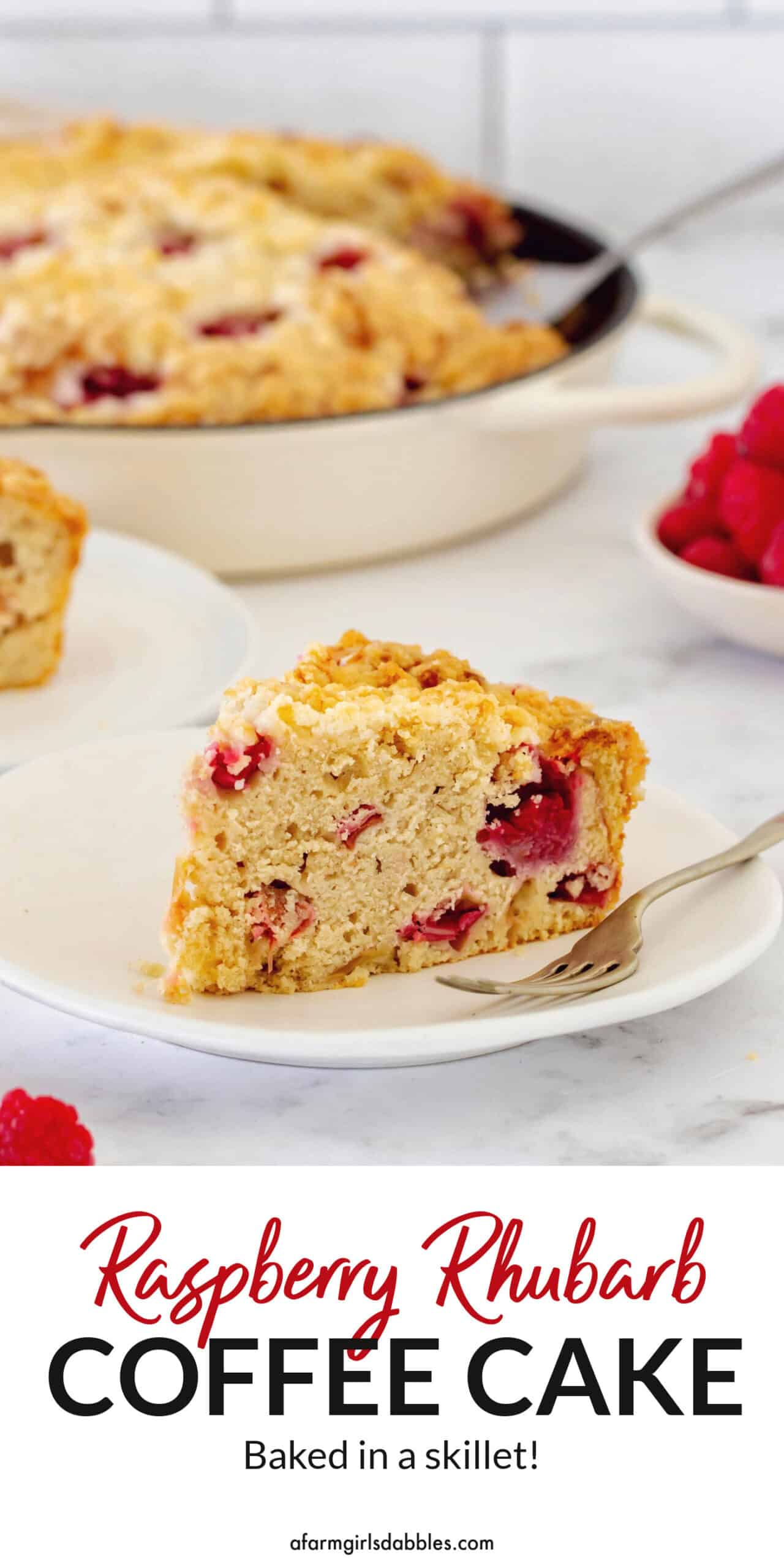 Pinterest image for Raspberry Rhubarb Skillet Coffee Cake