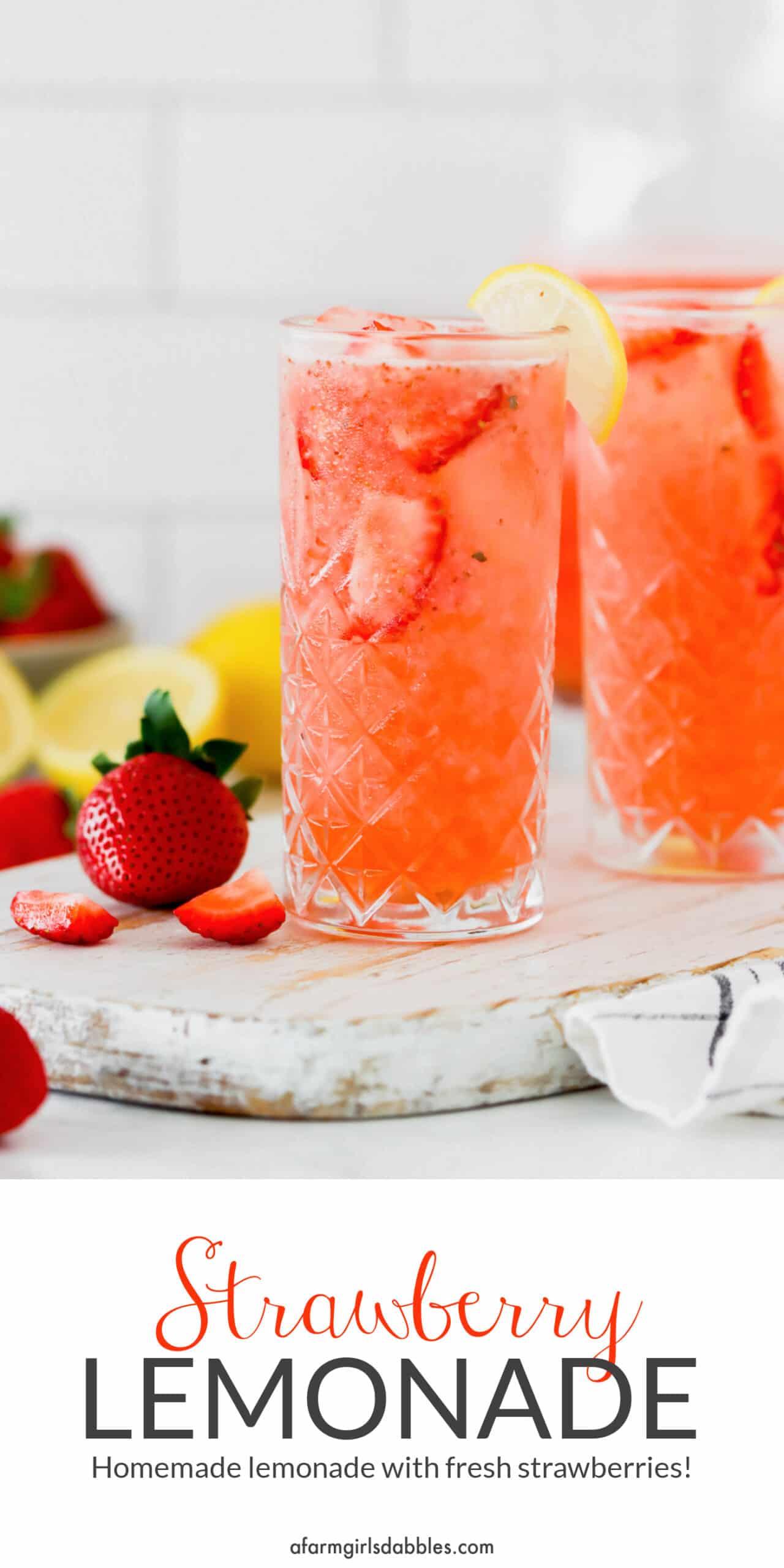 Pinterest image for Strawberry Lemonade