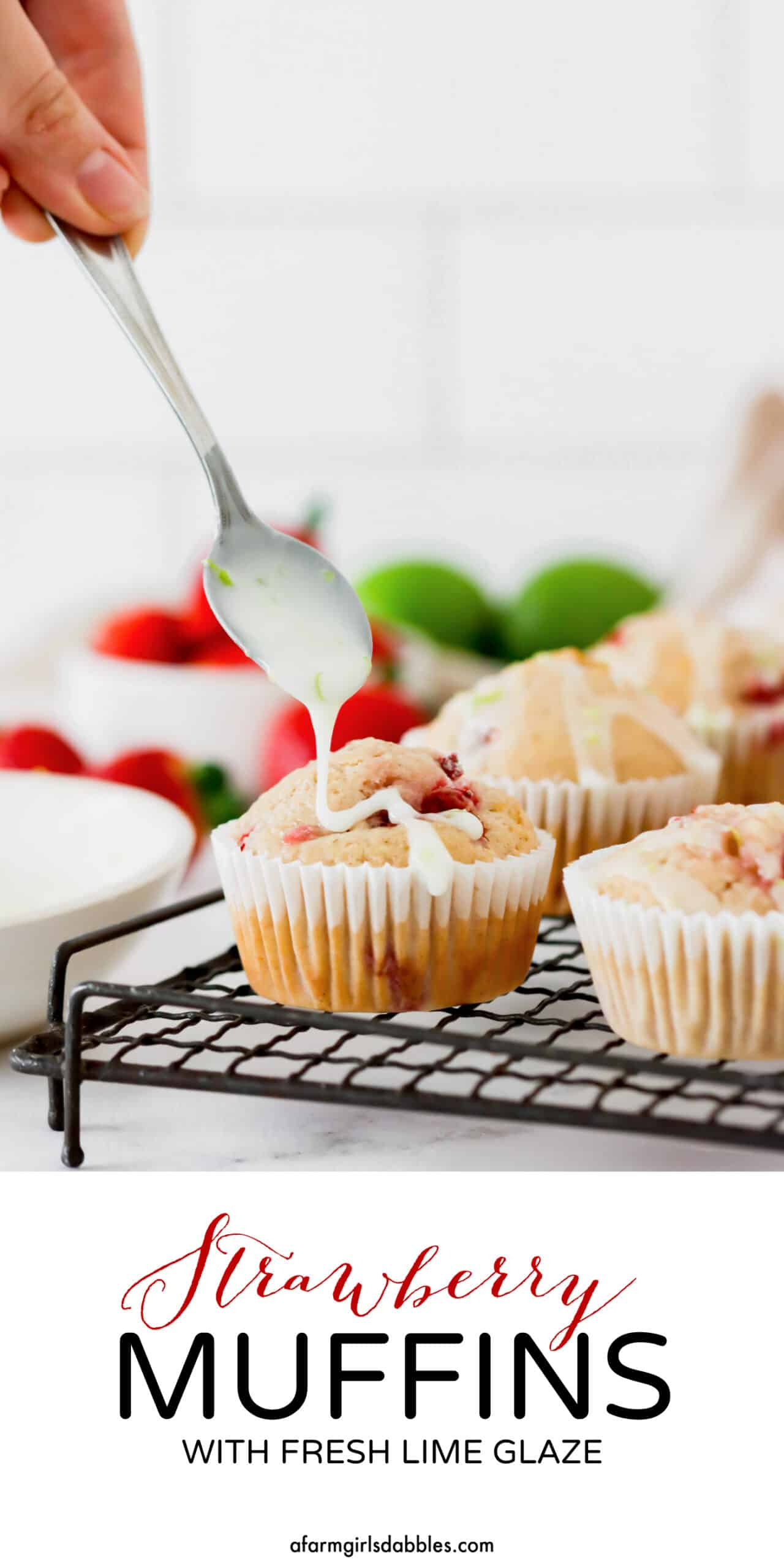 Pinterest image for Strawberry Muffins