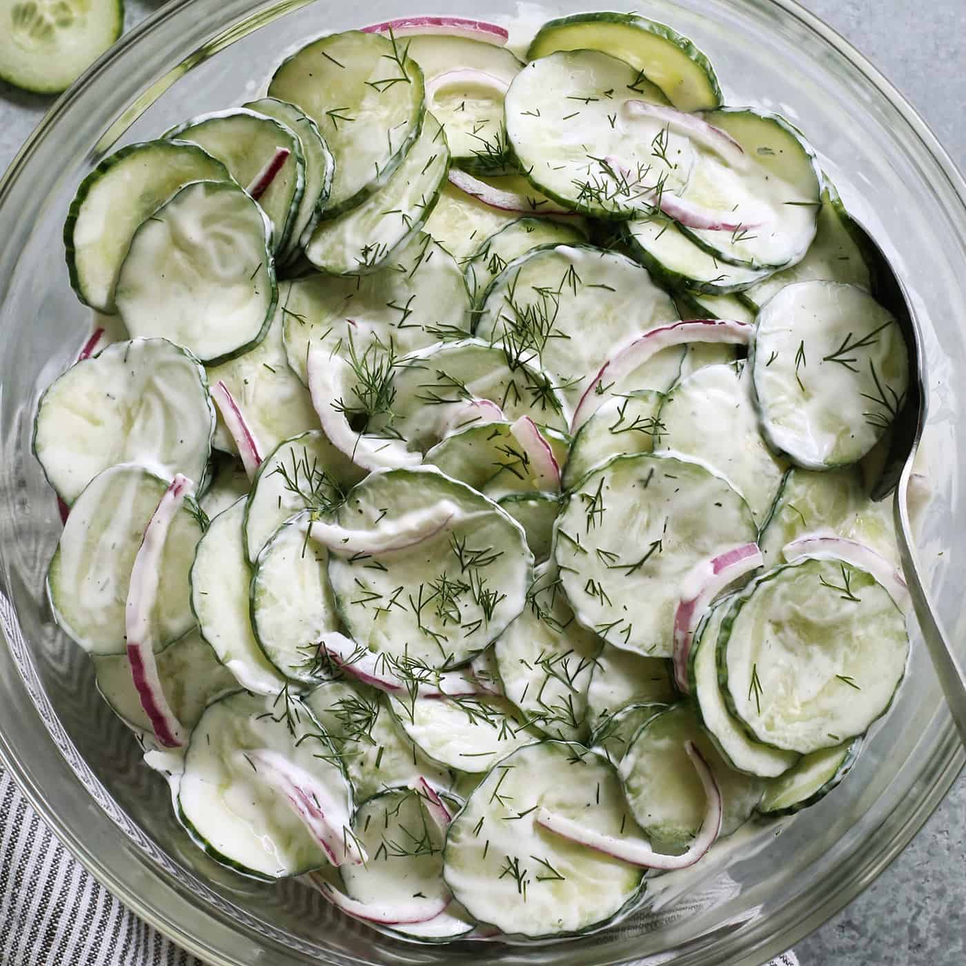 creamy cucumber and onion salad with fresh dill