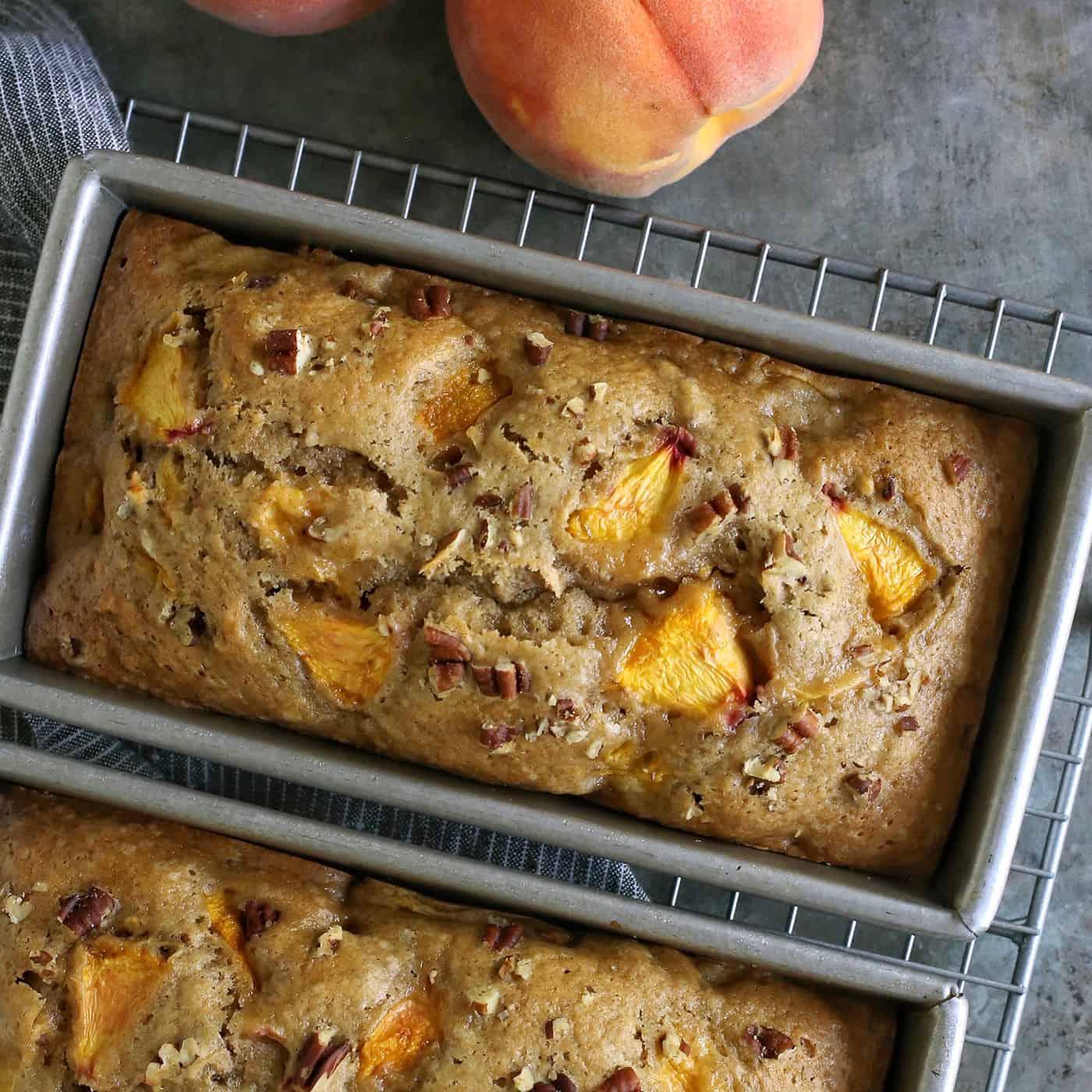 peach bread in baking pans