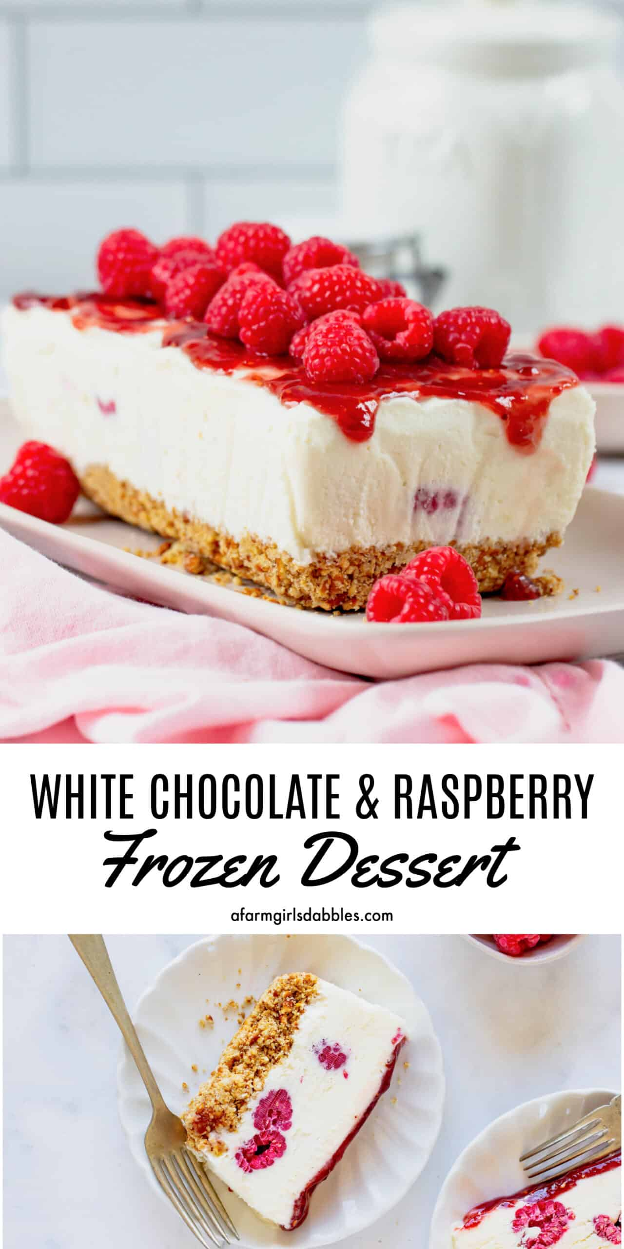 Pinterest image for frozen raspberry dessert with white chocolate and pretzels