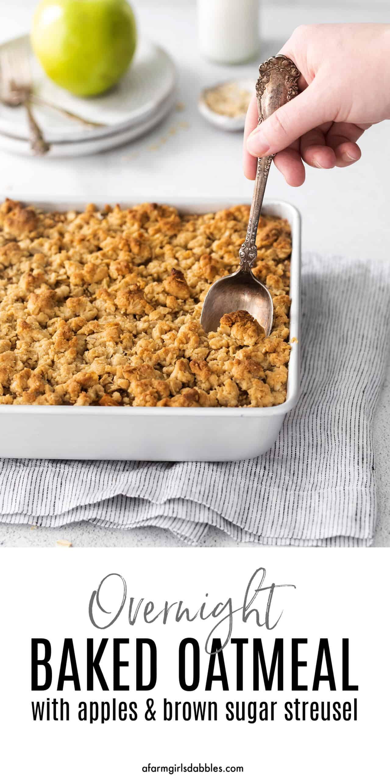 Pinterest image for overnight baked apple oatmeal