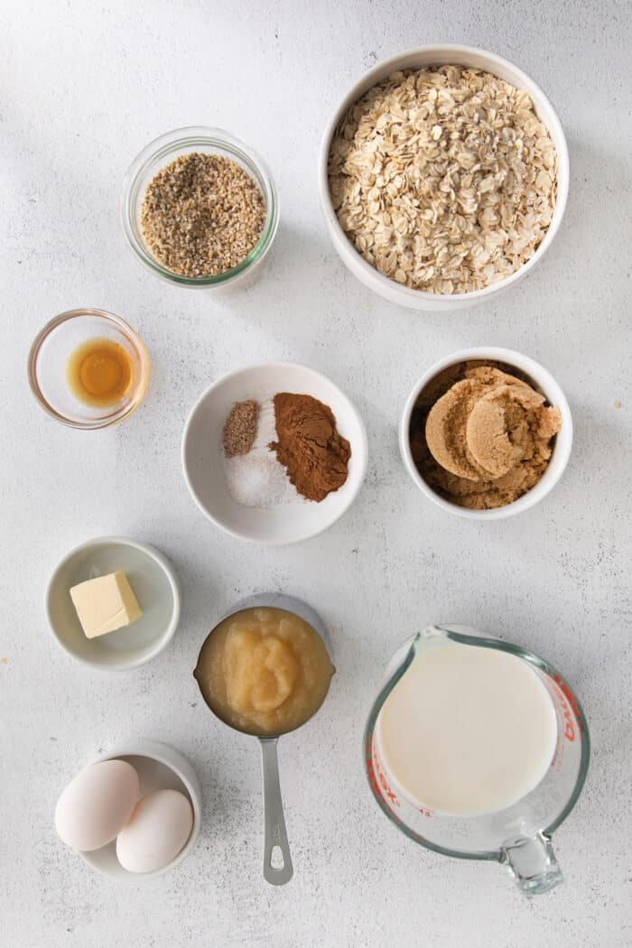 ingredients laid out for the oatmeal filling