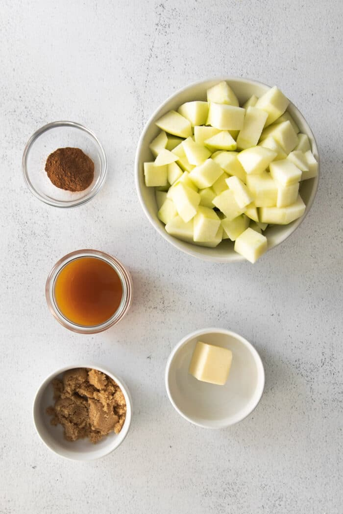 chopped apples and ingredients for the apple filling