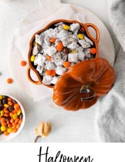Pinterest image for Halloween Puppy Chow, aka Muddy Buddies