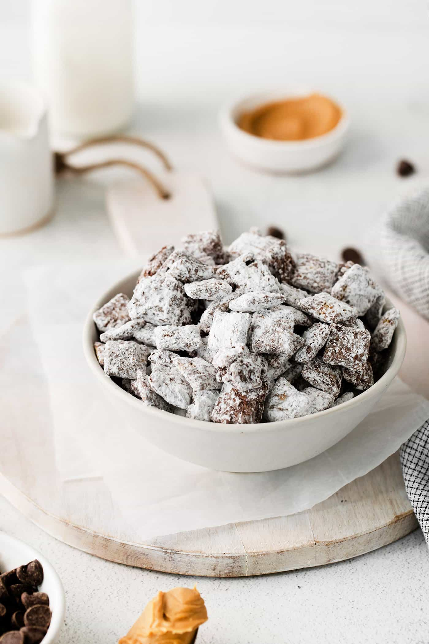 puppy chow in a white bowl